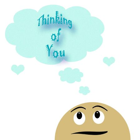 generic face expressing a pleasant thought illustration  Stok Fotoğraf