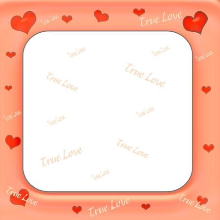 pink frame with hearts and true love words illustration