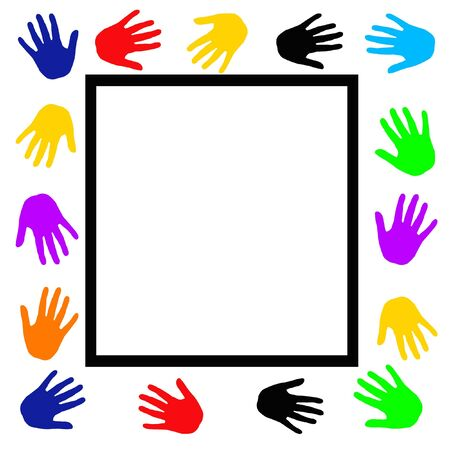 hand touch: colorful hands frame around blank white center illustration Stock Photo