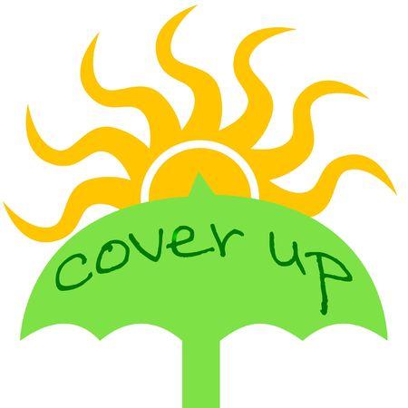 햇볕 예방 녹색 우산과 노란 태양 일러스트 레이션 스톡 콘텐츠