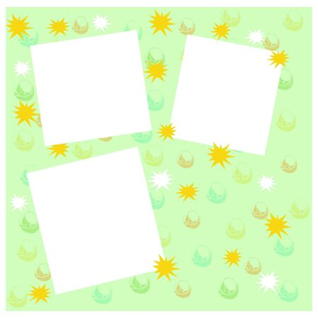 各種の図色と緑色の背景上の図形
