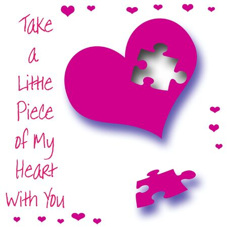 puzzle heart: fuchsia heart with puzzle piece missing illustration  Stock Photo