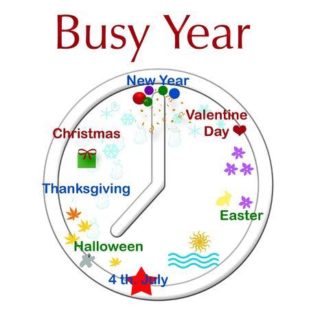 clock with holiday and season symbols illustration