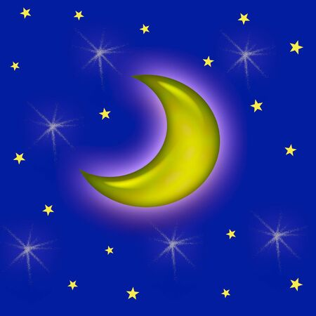 glows: yellow moon glows in starry night sky illustration