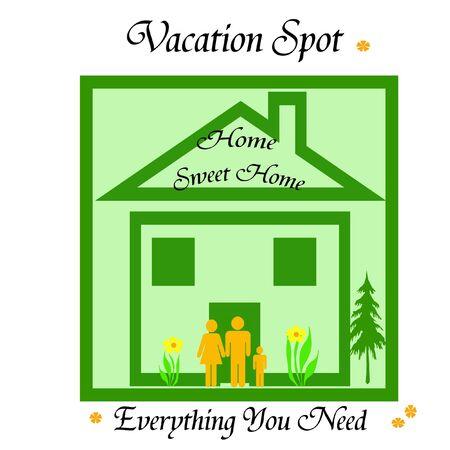 작은 가족과 녹색 집 포스터와 단어 그림