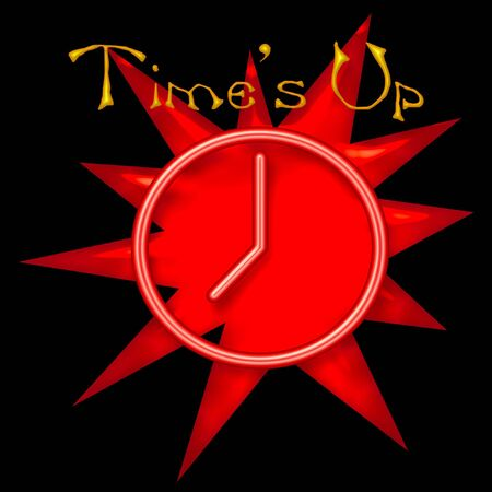 red neon clock on black background illustration