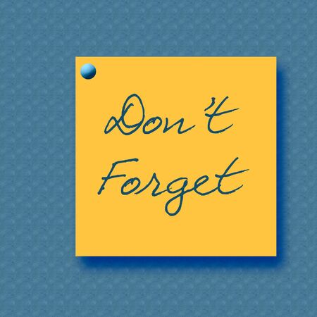reminder note thumb tacked to blue background illustration