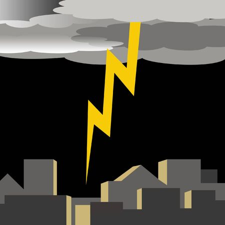 clouds: dark thunder clouds and flashing lightening illustration Stock Photo