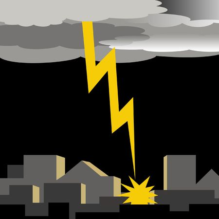 dark thunder clouds and lightening strike illustration