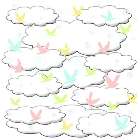 pastel birds swirl in puffy clouds illustration