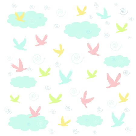 pastel birds swirl in puffy clouds illustration
