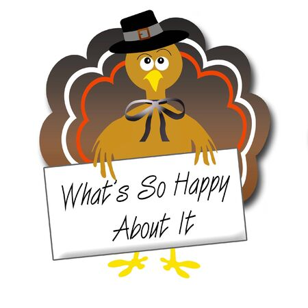 sarcastic pilgrim turkey with protest sign illustration
