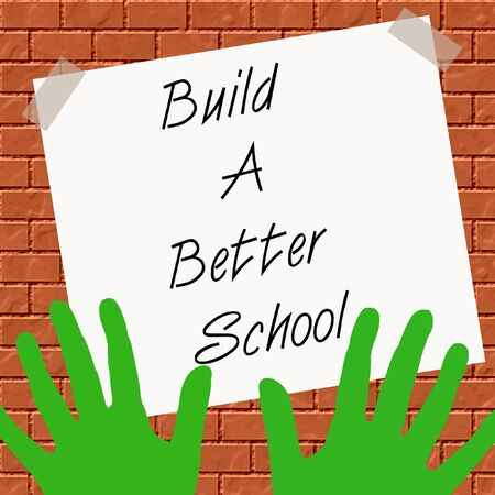 school growth green hands and brick wall illustration