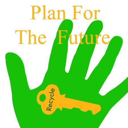 green hand holding golden key illustration on white Stock Illustration - 7553243