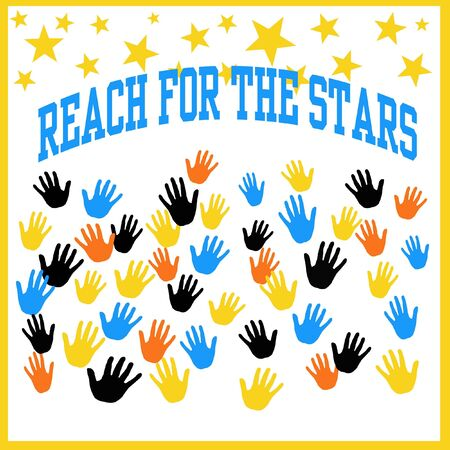 colorful hands reaching for yellow stars illustration  illustration