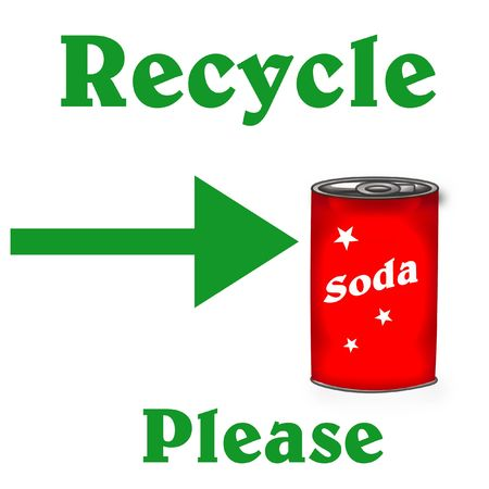 green recycle poster red soda can on white illustration Stock Illustration - 7601523