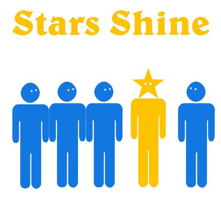 accomplish: large figure standing with smaller figures illustration stars shine Stock Photo