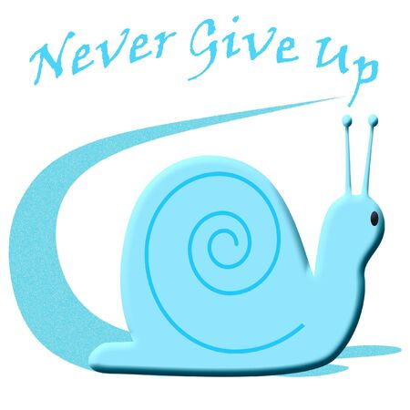 perseverance: blue snail leaving a long trail illustration