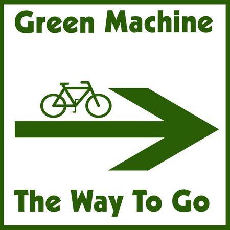 green bike and arrow on white background illustration  Reklamní fotografie