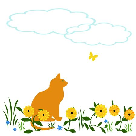 orange cat watching yellow butterfly scrapbook illustration Stock Illustration - 7685061