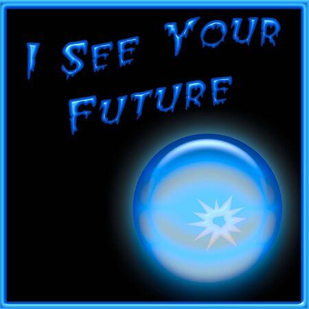 blue crystal ball on black background illustration Stock Illustration - 7685063