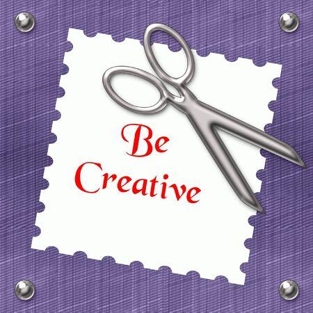 metal studs and shiny scissors on blue denim illustration Фото со стока