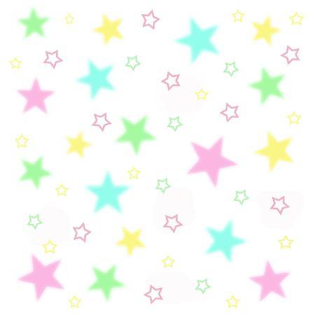 scatter: fuzzy baby stars on white background illustration