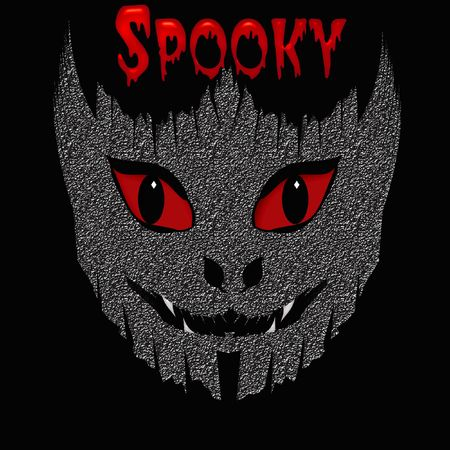 spooky red eyes and white teeth black background Stock Photo - 7714283