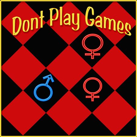 chessboard with sex symbols poster illustration
