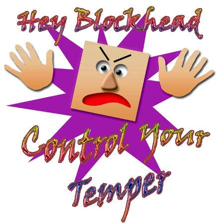 blockhead: temper tantrum hands and face on white illustration