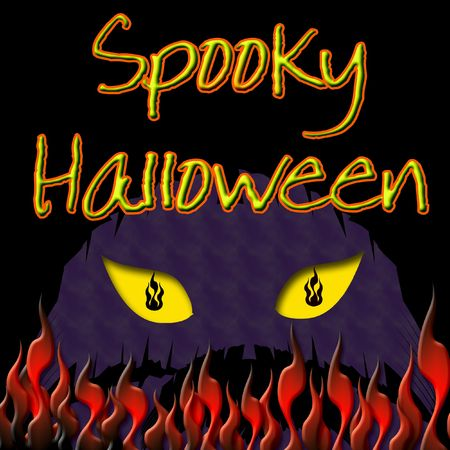 spooky yellow eyes and flames black background Stock Photo - 7833169