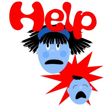 frazzled: frazzled mommy with crying baby illustrated poster Stock Photo