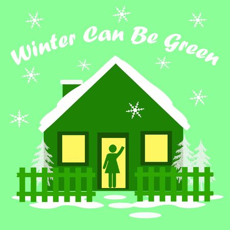 go green cozy house in winter illustration illustration