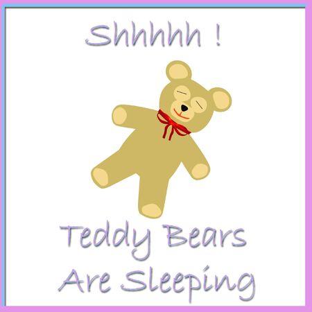 rustige speelgoed teddybeer slapen poster illustratie