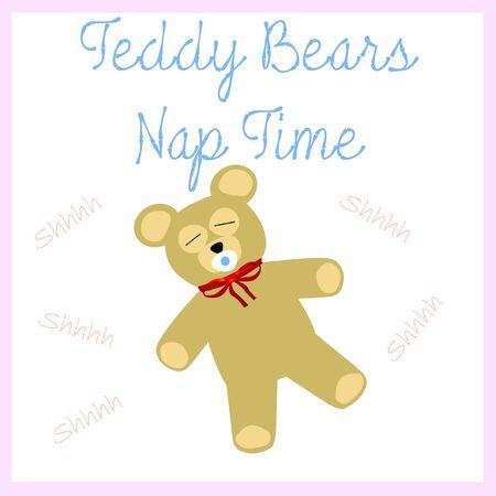 teddybeer en fopspeen dutje tijd poster Stockfoto