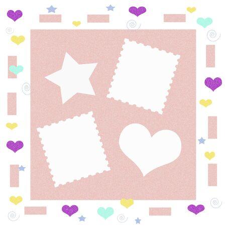 Colorful Shapes On White Scrapbook Frame Illustration Stock Photo ...