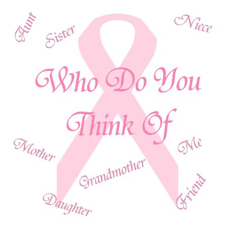 pink ribbon remember breast cancer poster illustration Фото со стока