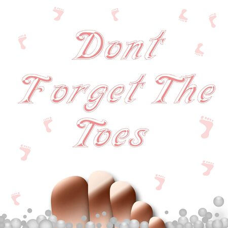 toes: hygiene poster toes and bubbles on white illustration Stock Photo