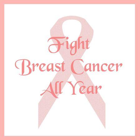 pink ribbon fight breast cancer poster illustration