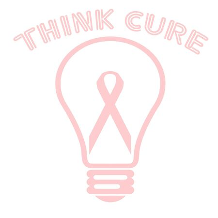 pink ribbon in a light bulb poster illustration
