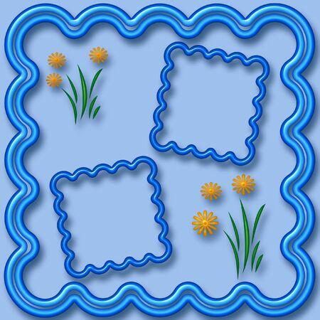 yellow neon daisies scrapbook frame 3d illustration illustration