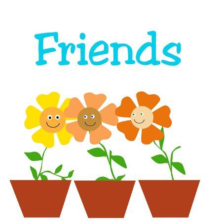 pal: three friendly little flowers in pots illustration