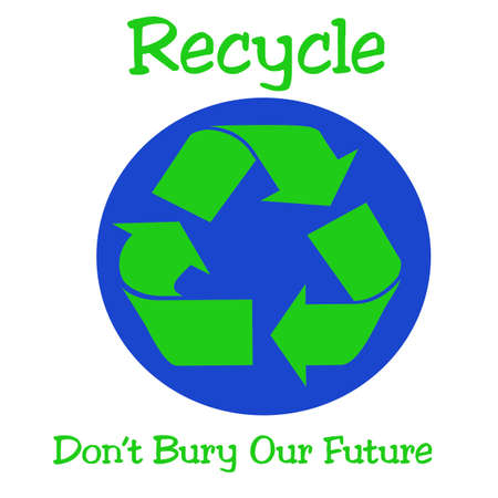 refuse: green recycle symbol and blue earth illustration Stock Photo