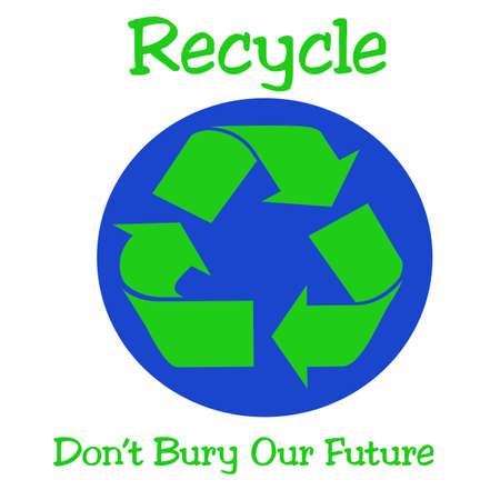 green recycle symbol and blue earth illustration Reklamní fotografie