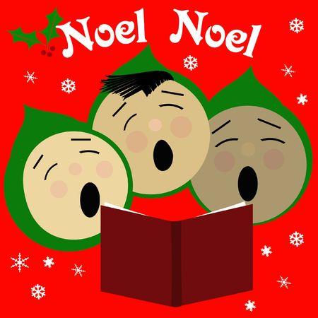 子供のクリスマスのキャロルの図は赤と緑を歌う