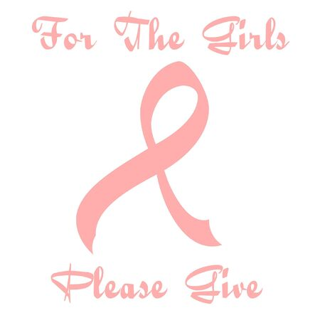 curvy pink ribbon sign on white illustration