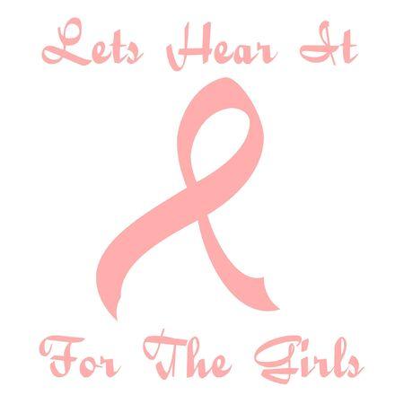 ribbons: curvy pink ribbon sign on white illustration