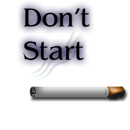 anti rokende affiche brandende sigaret op witte illustratie