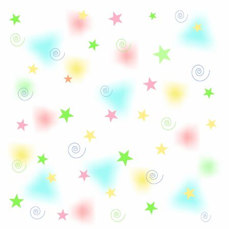 pastel stars and fuzzy triangles on white illustration Banco de Imagens
