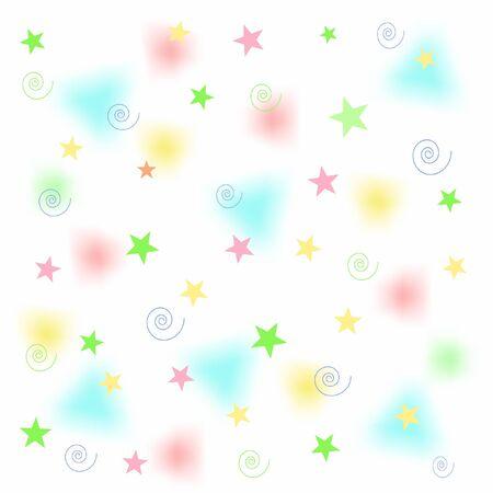 stars: pastel stars and fuzzy triangles on white illustration Stock Photo